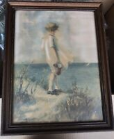 Early 20th Cent. Hand Colored Girl w/Pail by Sea Lithograph signed M. Stokes