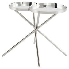 "24.8"" W Set of 2 Side Table Polished Stainless Steel Modern Round Dual Tray Top"