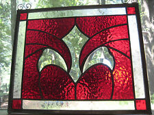 SIMPLY RED stained glass panel window suncatcher NEW