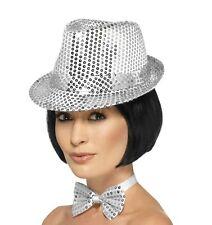 adulto STRASS Cappello di feltro Costume Party Argento Nuovo Da Smiffys