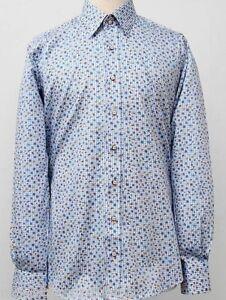 Men's Printed Shirt Slim Fit Long Sleeve Cotton Size: S CLAUDIO LUGLI Flowers