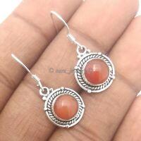 Sun Stone Solid 925 Sterling Silver Drop Dangle Earrings
