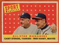 1958 Topps #475 Casey Stengel VG/EX WRINKLE New York Yankees HOF FREE SHIPPING