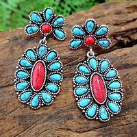 Women 925 Silver Turquoise Ear Hook Stud Dangle Drop Moonstone Sapphire Earrings