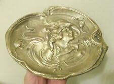 Antique ART NOUVEAU WOMAN Swirling Smoke Hat Dresser Coin pin Tray brass