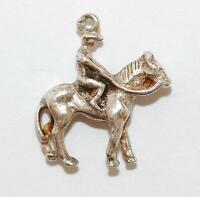 Horse Jockey Sterling Silver Vintage Bracelet Charm With Gift Box 2.2g