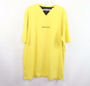 Vintage 90s Tommy Hilfiger Mens Large Spell Out Vented Mesh V-Neck Shirt Yellow