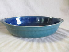 DENBY HARLEQUIN BLUE AND GREEN OVAL BAKER VERY GOOD CONDITION
