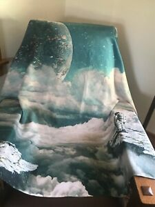 Society 6 100% Polyester Shades of Blue & Tan Astronaut Moon Planets Space Wall
