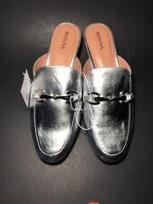 NEW Womens kona backless mule loafers- Merona silver Size 7 1/2