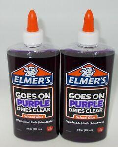 2 ELMER'S School Glue 9 oz ea/266 ml  Goes On PURPLE Dries Clear New