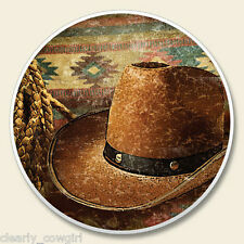 #8925 -- HIGHLAND GRAPHICS WESTERN COWBOY HAT ABSORBENT AUTO COASTER