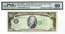 Series Of 1950 A $10 FRN New York Fr#2011-B BC Block Misalignment Error PMG XF40