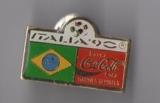 Pin's Italia 90 / Coca Cola / drapeau Brésil