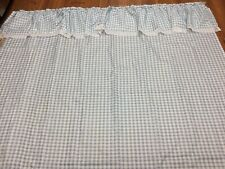 """GINGHAM SHOWER CURTAIN BLUE WHITE CHECK WITH LACE 70"""" X 72"""" COUNTRY 100% POLY"""