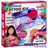 Children's Airbrush Tattoo Studio Kit With 20 Stencils Pen Spray Toy Fun Battery