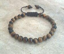 Tiger's Eye Gemstone Shamballa Bracelet Adjustable Cord 6mm beads brown