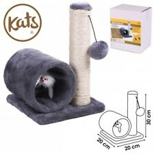 Pet Cat Kitten Play Sisal Scratch Bed Toy Fun Post With Tunnel Pet Activity