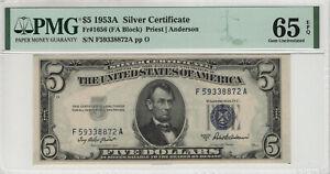 1953 A $5 SILVER CERTIFICATE FR.1656 FA BLOCK PMG GEM UNCIRCULATED 65 EPQ
