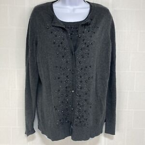 Croft & Barrow Womens Cardigan Sweater Tank Set Sz L Dark Gray Beaded New