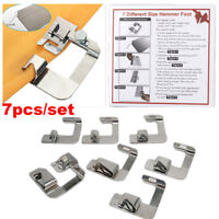 7pcs Domestic Sewing Machine Parts Foot Presser Rolled Hem Feet Set