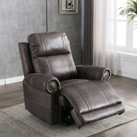 Manual Leather Recliner Chair Overstuffed Backrest Sofa Nail Decor Home Theather