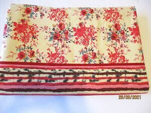 Full Size Custom Made Flat Sheet Red Tan Black Floral and Stripe ~One of a Kind!