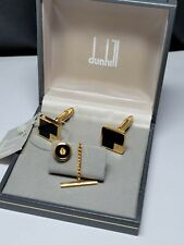 Vintage Dunhill, Gold Plated, Onyx face, Cufflinks & Tie Chain Clip - box