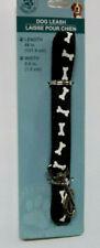 """New listing Greenbrier Kennel Club 1/2""""x 48"""" Dog Leash """" Black / Bones """" ~ New"""