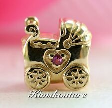 Authentic PANDORA 14K Gold Baby Carriage Bead #750409PSA PINK SAPPHIRE