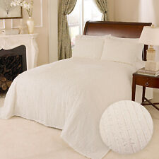 100% Cotton Tufted Chenille Stripe Bedspread Bedding Twin Full Queen King, Ivory