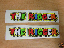 """Valentino Rossi style text - """"THE RIGGER""""  x2 stickers / decals  - 5in x 1in"""