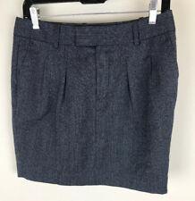 Gap Sz 2 Gray Black Striped Wool Blend Four Pocket A Line Skirt