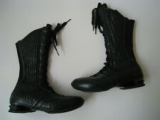 2007 NIKE SHOX BLACK PATENT LEATHER MIDCALF BOOTS WOMEN US 6 UK 3.5  RARE HOT