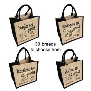 Jute Shopping Bags - DOG BREEDS from These Bags are Great - Good Size Bag Gift