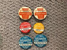 Lot 6 Vintage Pennsylvania Fishing License Pins 1959 1974 1975
