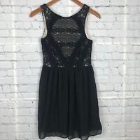 Rewind Junior Lace Crochet Party Dress Short Fit & Flare Black Tan Sz S