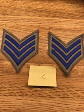 1 PAIR SERGEANT CHEVRON STRIPES BLUE ON GRAY FOR POLICE  FIRE ETC NEW