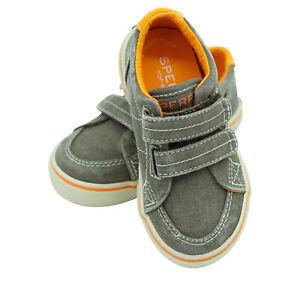 Sperry Boy's Top Sider Halyard Hook & Loop Sneaker Brown Saltwash Size 7.5 W