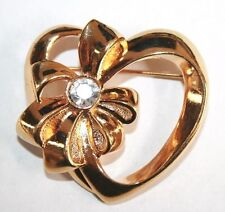 Brooch Pin - Avon - Heart - Bow - Ribbon - April - White Rhinestone - Gold Tone