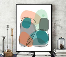 Prints, Posters, Minimalist Corals Peachy Gray Contemporary Abstract Modern