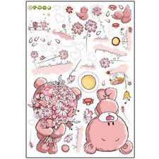 HE527 Pink Cartoon Cat Rabbit Flower Wall Sticker For Baby Girls Kids Rooms