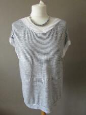 NEXT Ladies White & Navy Blue Striped Fine Knit Top Large Keyhole Back Size 12