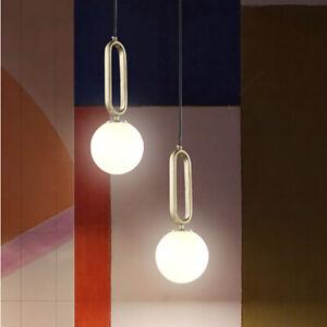 Nordic Single White Glass Globe LED Gold Brass Oval Ring Kitchen Pendant Lights