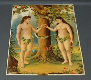 1890 Victorian Chromolithograph Print Gustav May Germany Adam and Eve Bible Art