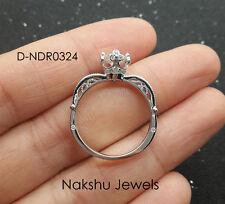 Engagement Ring 14K White Gold 1.70Ct White Round Moissanite Vintage