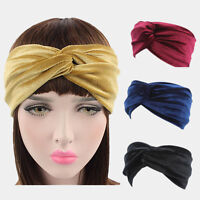 New Stretchable Turban Velvet Twist Yoga Hairband Headband Solid Colors Sports