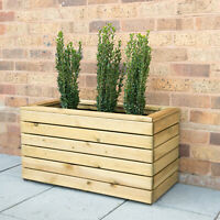 Forest Double Linear Planter Wooden Garden Flower Pot Heavy Duty Square NEW