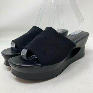 Women's Calvin Klein Marjory Black Platform Wedge Wide Strap Slide Sandals Sz 8