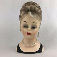 INARCO Head Vase E1062 Black Dress Pearls Updo Handpainted 1960s